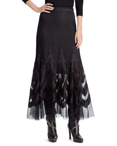 50th Anniversary Micah Embroidered Tulle A-Line Long Skirt