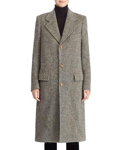50th Anniversary Bernette Three-Button Melange Wool Mid-Length Coat