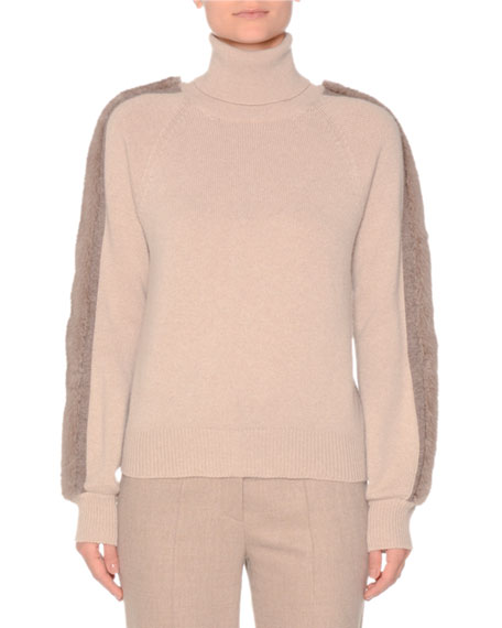 AGNONA Turtleneck Cashmere Sweater With Mink in Neutral