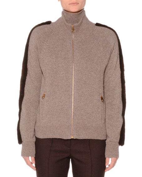 Agnona Zip-Front Cashmere Sweater With Mink Fur