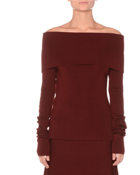 AGNONA Off-The-Shoulder Extra Fine Merino Knit Sweater in Wine