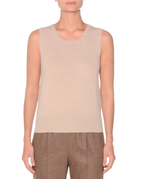 SLEEVELESS CASHMERE SWEATER TOP WITH METALLIC DETAILS
