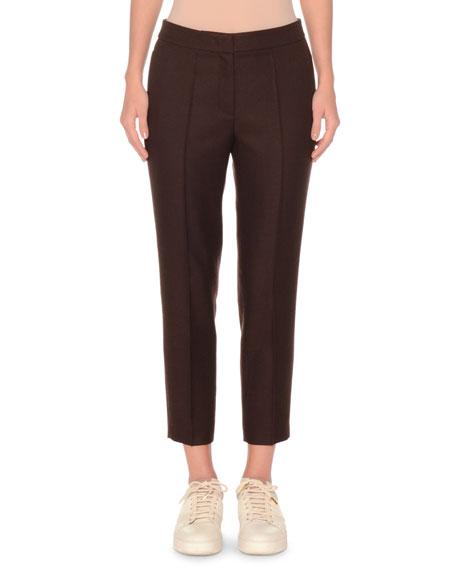 AGNONA Shetland Wool Slim Cropped Pant in Light Brown