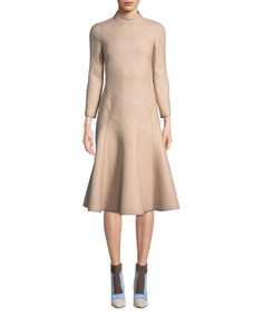 Long Sleeve Mock Neck A Line Wool Crepe Midi Dress, Nude by Agnona