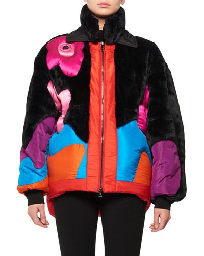 Zip-Front Multicolor Puffer Coat w/ Taffeta Intarsia & Faux-Fur