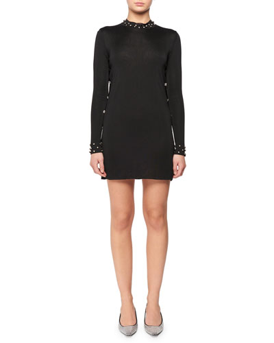 Long-Sleeve Body-Con Knit Tunic Dress w/ Crystal Trim