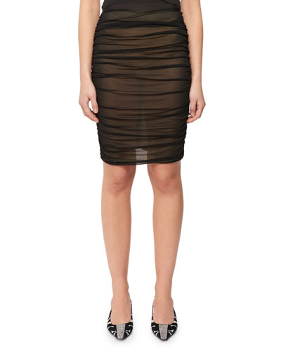 Ruched Tulle Pencil Skirt
