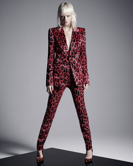 One-Button Jaguar-Print Bugle-Beaded Velvet Jacket