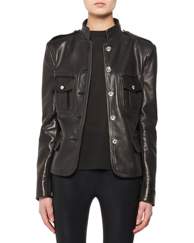 Crystal-Button Front Lamb Leather Jacket