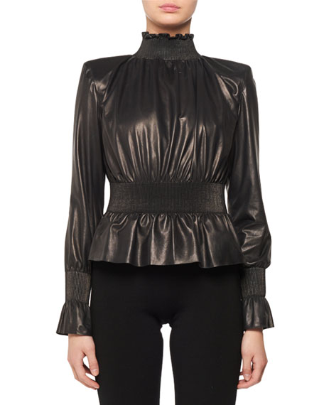 RUCHED HIGH-NECK LONG-SLEEVE ZIP-BACK LEATHER TOP
