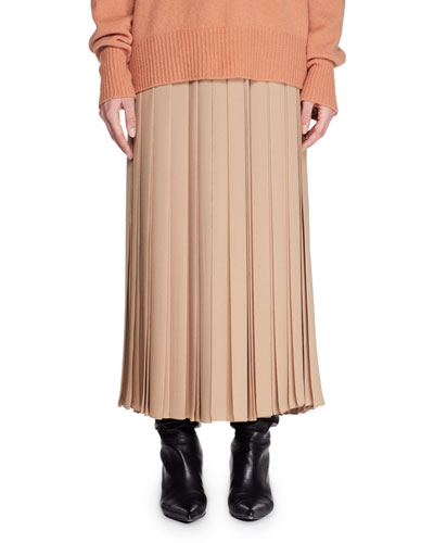 Vanessa Long Pleated Silk Skirt