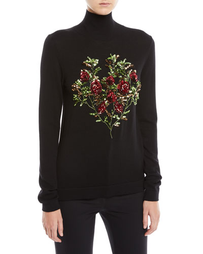 Floral-Embroidery Long-Sleeve Wool Turtleneck