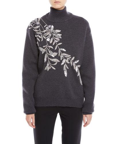 Fern-Embrodiery Turtleneck Wool Sweater