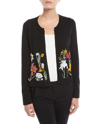 Crewneck Button-Front Floral-Embellished Wool Cardigan