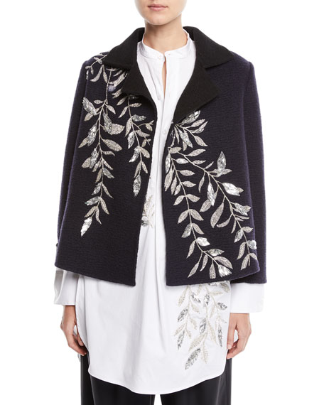 Fern-Embroidered Long-Sleeve Wool Jacket