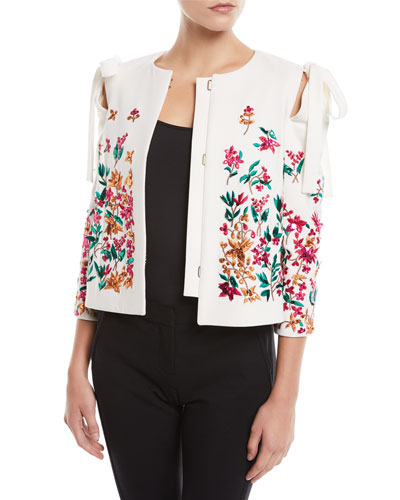 Floral-Embroidered Bow-Shoulder Short Jacket