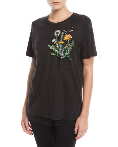 Short-Sleeve Crewneck T-Shirt w/ Tulle & Floral Embellishment