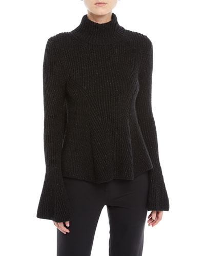Metallic Bell-Sleeve Turtleneck Sweater