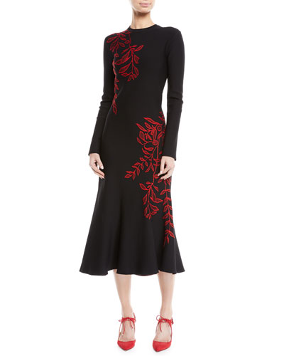 Long-Sleeve Crewneck Floral-Embroidered Flared Knit Dress