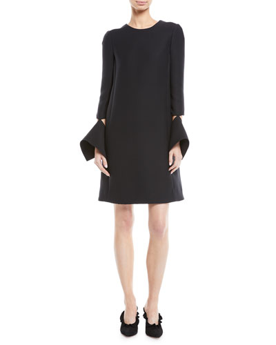 Long-Sleeve Dress with Detached Brooch Cuffs