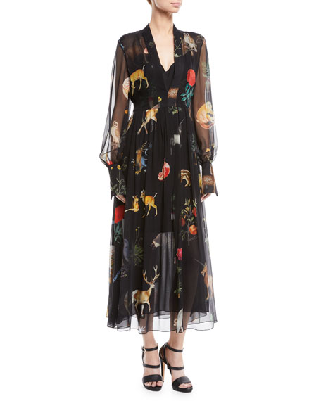 LONG-SLEEVE FLORA & FAUNA PRINT SILK MAXI DRESS