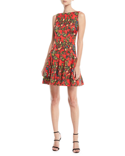 Sleeveless Pomegranate & Floral Print Fit-and-Flare Dress