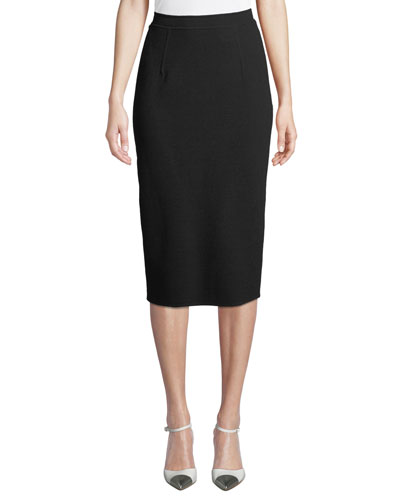 Double-Face Stretch-Wool Pencil Skirt