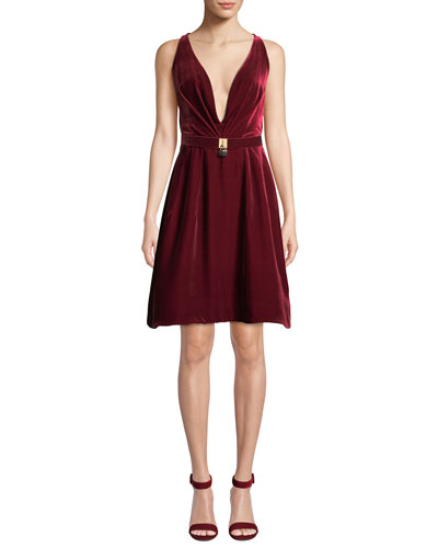 Lock-Belt Deep-V Sleeveless Fit-and-Flare Short Velvet Cocktail Dress