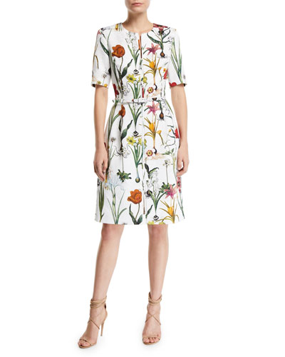 Elbow-Sleeve Zip-Front Enchanted Forest A-Line Dress