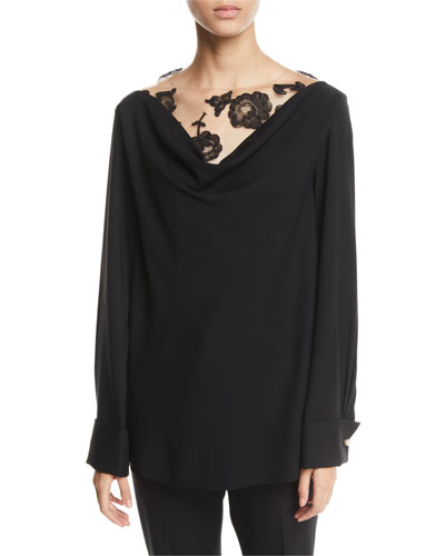 Floral-Lace Insert Draped-Back Silk Blouse