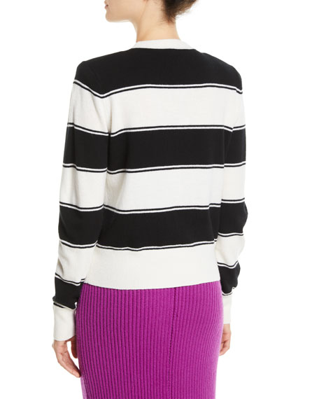 Tie-Neck Long-Sleeve Striped Wool Sweater