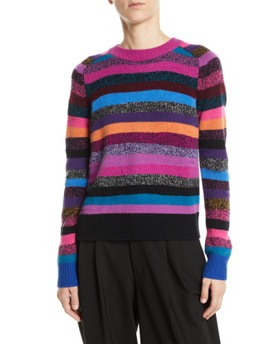 Crewneck Long-Sleeve Multicolor Striped Cashmere Sweater
