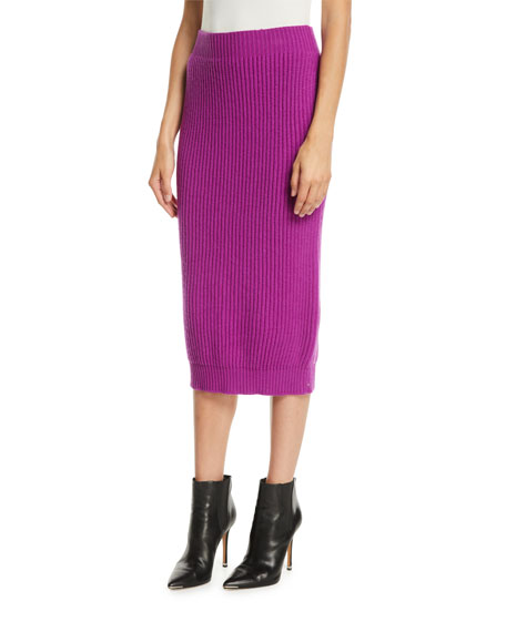 Ribbed Fitted Wool-Cashmere Midi Skirt in Purple