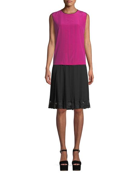 Jewel-Neck Sleeveless Pleated Mixed-Media Silk Dress W/ Lace Hem, Magenta