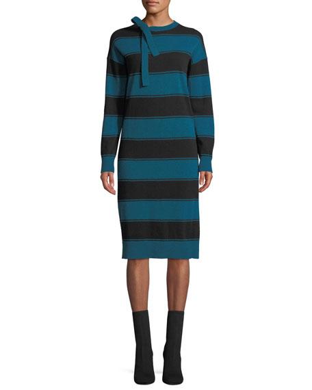 Tie-Neck Long-Sleeve Striped Wool Sweaterdress