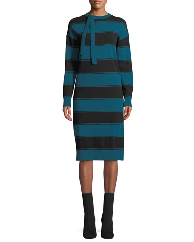 Tie-Neck Long-Sleeve Striped Wool Sweaterdress