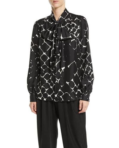 Tie-Neck Bishop-Sleeve Abstract-Print Silk Top