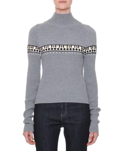 Turtleneck Long-Sleeve Printed Wool Sweater