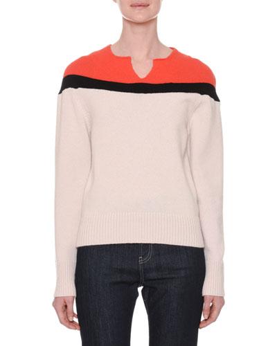 Split-Neckline Colorblock Cashmere Sweater