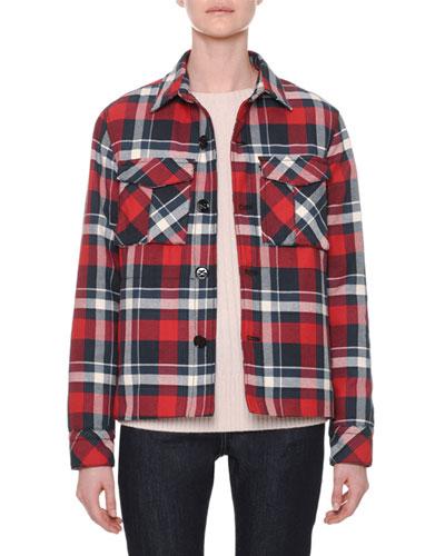 Button-Front Plaid Cotton Jacket