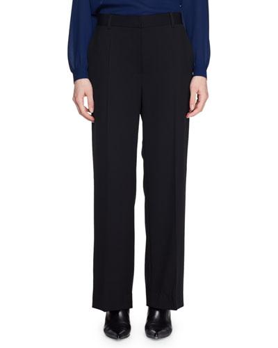 Ina Mid-Rise Straight-Leg Wool Pants