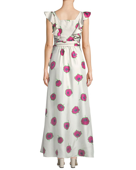 Sleeveless Poppy-Print Wrap Silk Wedding Guest Dress