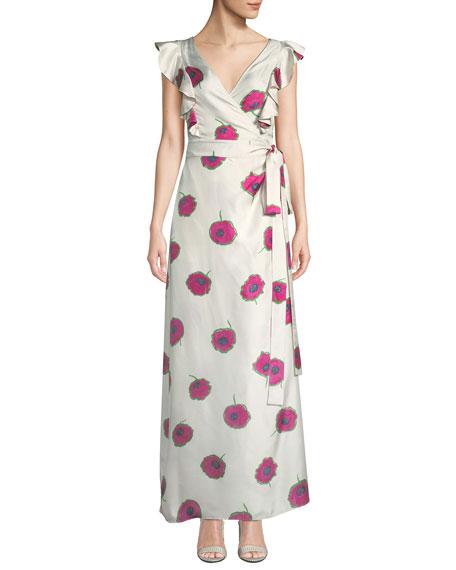 Double J Sleeveless Poppy-Print Wrap Silk Wedding Guest