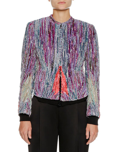 Zip-Front Crystal-Embroidered Chenille Jacket