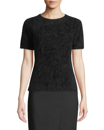 Short-Sleeve Angora Sweater