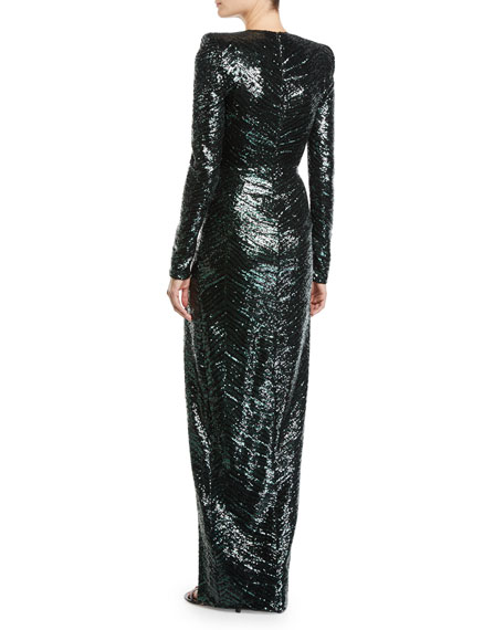 Long-Sleeve Zebra Sequined Gown