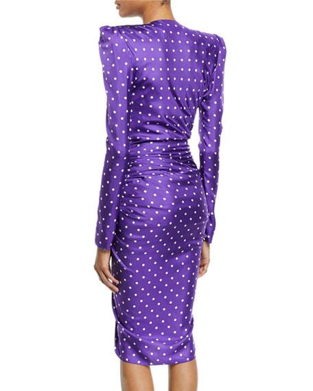 Polka-Dot Wrapped-Waist Puff-Shoulder Sheath Dress