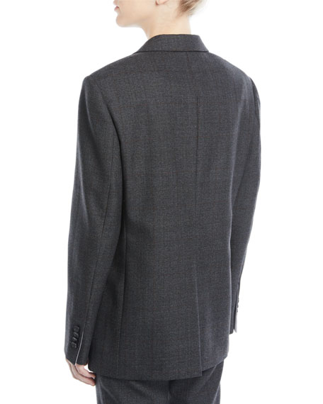One-Button Notched-Collar Worsted Wool Check Oversized Jacket