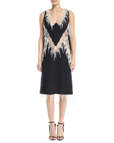 V-Neck Sleeveless Wool Boucle Dress w/ Popcorn Lace Trim