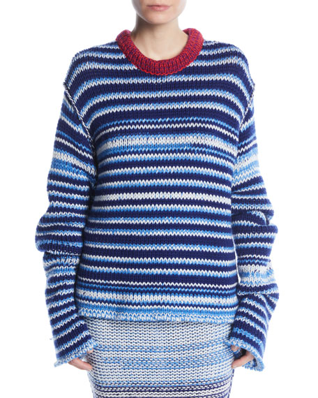 CALVIN KLEIN 205W39NYC Crewneck Television-Striped Oversized Sweater in Navy